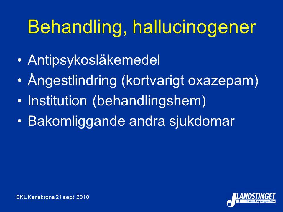 SKL Karlskrona 21 sept 2010 Behandling, hallucinogener Antipsykosläkemedel Ångestlindring (kortvarigt oxazepam) Institution (behandlingshem) Bakomliggande andra sjukdomar