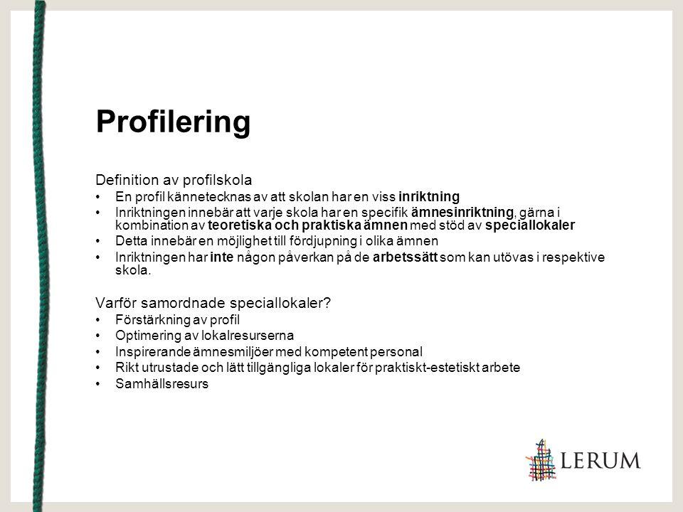 Profilering Definition av profilskola En profil kännetecknas av att skolan har en viss inriktning Inriktningen innebär att varje skola har en specifik