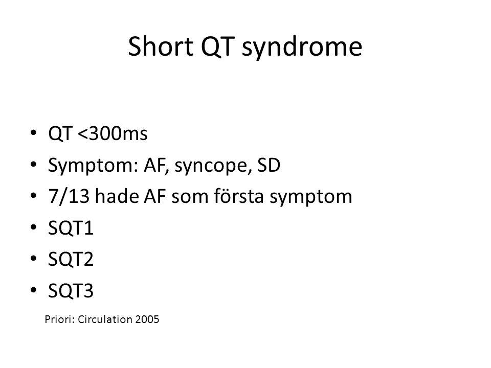Short QT syndrome QT <300ms Symptom: AF, syncope, SD 7/13 hade AF som första symptom SQT1 SQT2 SQT3 Priori: Circulation 2005