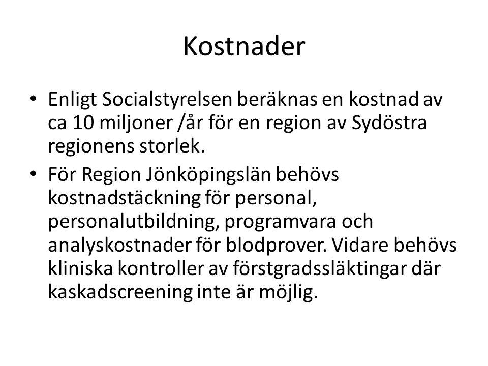 Kostnader Enligt Socialstyrelsen beräknas en kostnad av ca 10 miljoner /år för en region av Sydöstra regionens storlek. För Region Jönköpingslän behöv
