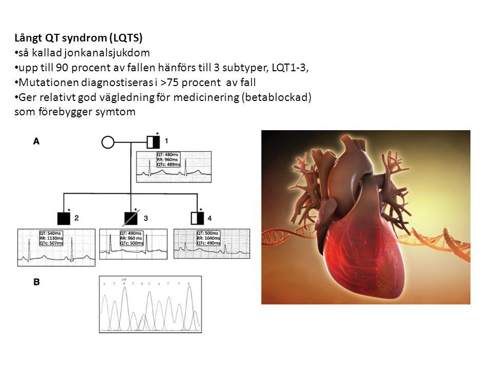 Långt QT syndrom (LQTS) så kallad jonkanalsjukdom upp till 90 procent av fallen hänförs till 3 subtyper, LQT1-3, Mutationen diagnostiseras i >75 proce