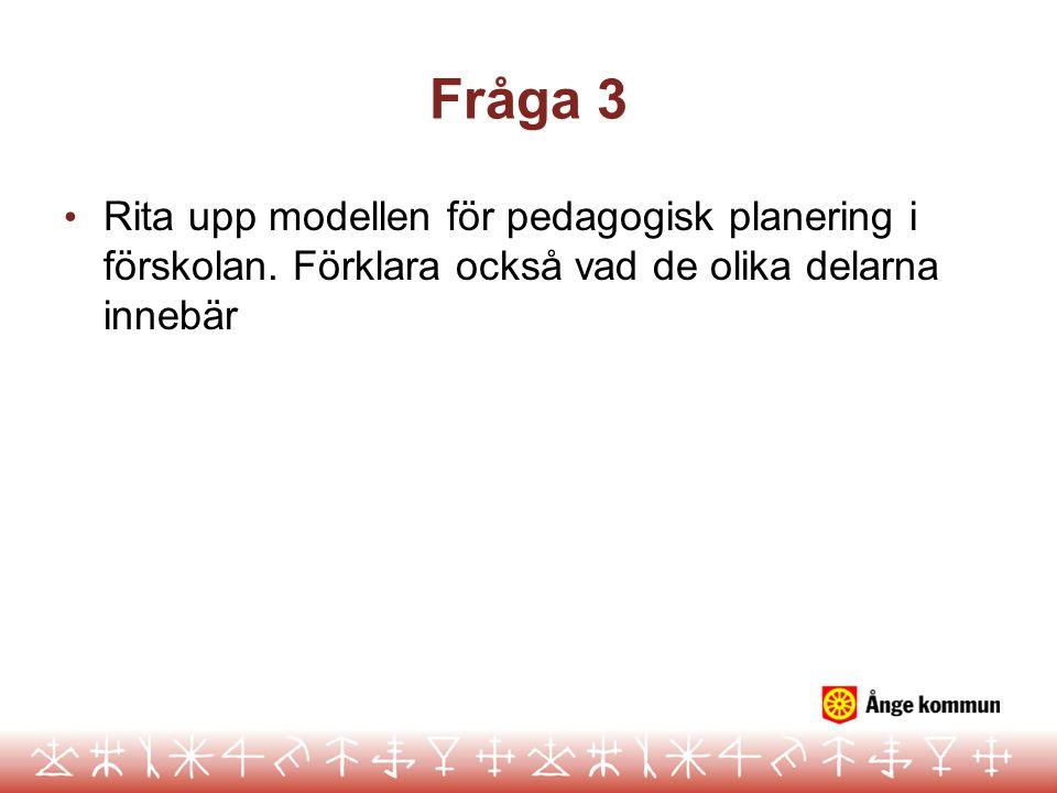 Fråga 3 Rita upp modellen för pedagogisk planering i förskolan. Förklara också vad de olika delarna innebär