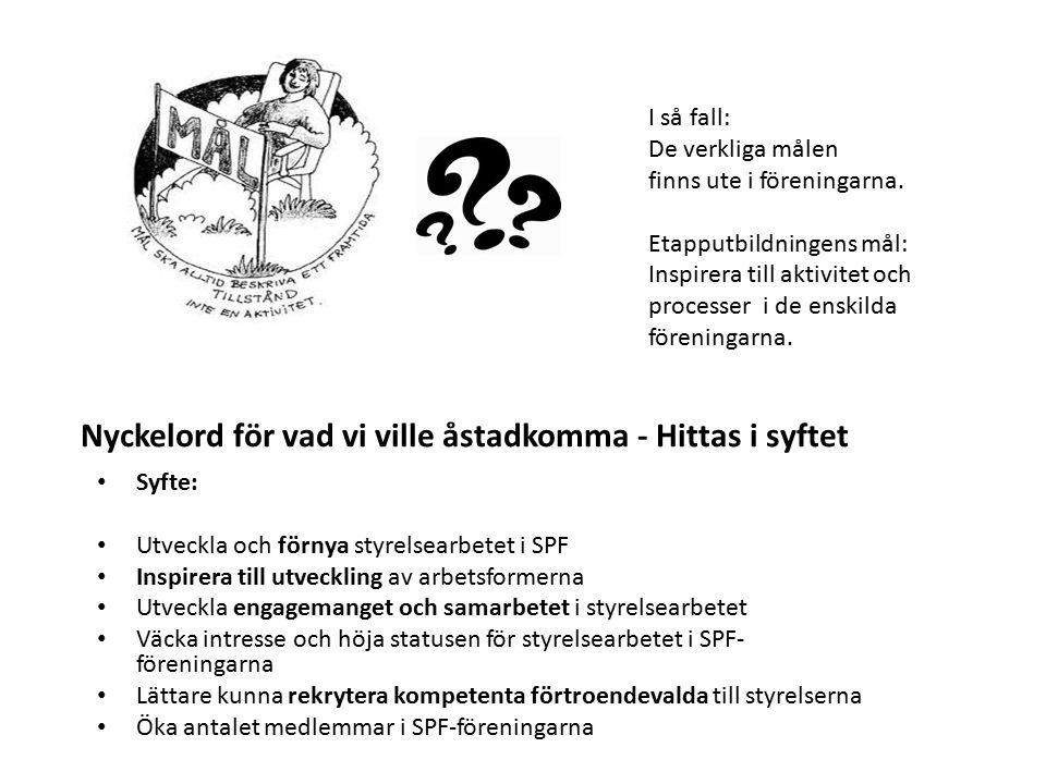 Syfte: Utveckla och förnya styrelsearbetet i SPF Inspirera till utveckling av arbetsformerna Utveckla engagemanget och samarbetet i styrelsearbetet Vä