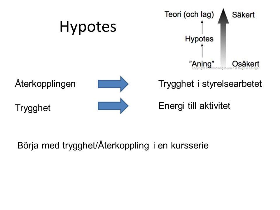 Hypotes ÅterkopplingenTrygghet i styrelsearbetet Trygghet Energi till aktivitet Börja med trygghet/Återkoppling i en kursserie