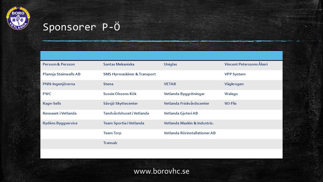 Sponsorer P-Ö Persson & PerssonSantas MekaniskaUniglasVincent Peterssons Åkeri Plannja Steinwalls ABSMS Hyrmaskiner & TransportVPP System PNN-IngenjörernaStenaVETABVägkrogen PWCSussie Olssons KökVetlanda ByggritningarWalego Ragn-SellsSävsjö SkyttecenterVetlanda FriskvårdscenterWJ-Flis Reseaxet i VetlandaTandvårdshuset i VetlandaVetlanda Gjuteri AB Rydéns ByggserviceTeam Sportia i VetlandaVetlanda Maskin & Industris.