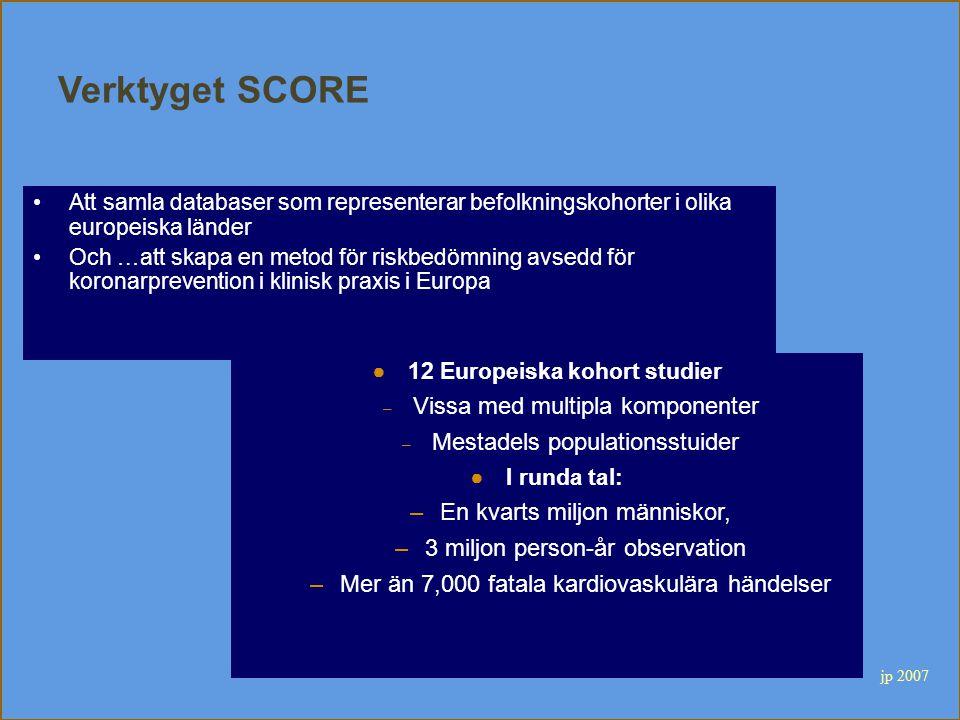 Verktyget SCORE Att samla databaser som representerar befolkningskohorter i olika europeiska länder Och …att skapa en metod för riskbedömning avsedd f