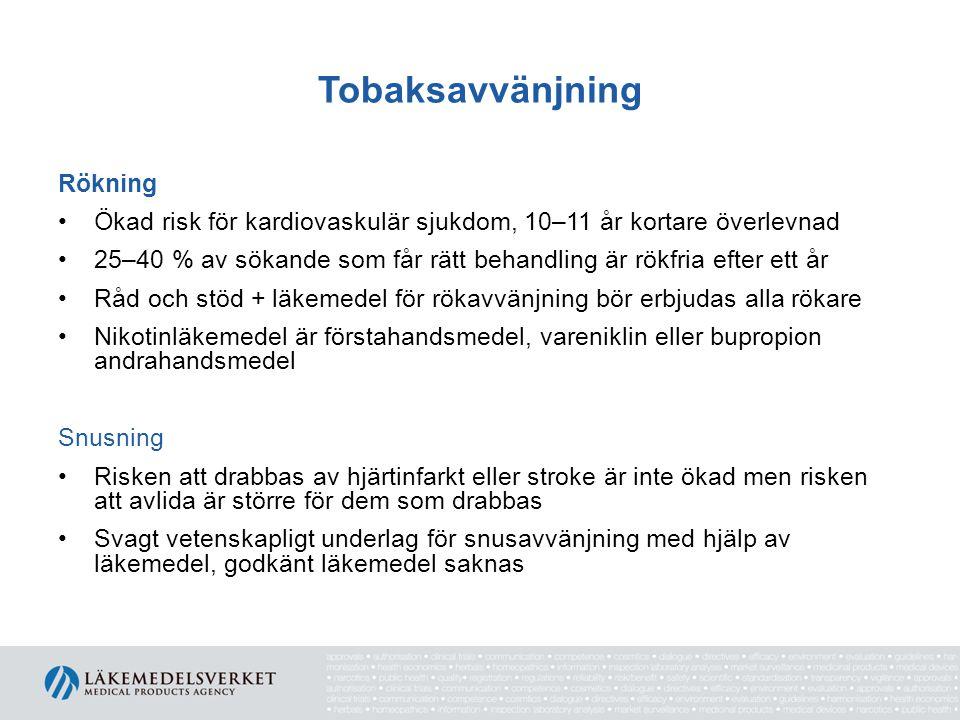 Tobaksavvänjning Rökning Ökad risk för kardiovaskulär sjukdom, 10–11 år kortare överlevnad 25–40 % av sökande som får rätt behandling är rökfria efter ett år Råd och stöd + läkemedel för rökavvänjning bör erbjudas alla rökare Nikotinläkemedel är förstahandsmedel, vareniklin eller bupropion andrahandsmedel Snusning Risken att drabbas av hjärtinfarkt eller stroke är inte ökad men risken att avlida är större för dem som drabbas Svagt vetenskapligt underlag för snusavvänjning med hjälp av läkemedel, godkänt läkemedel saknas