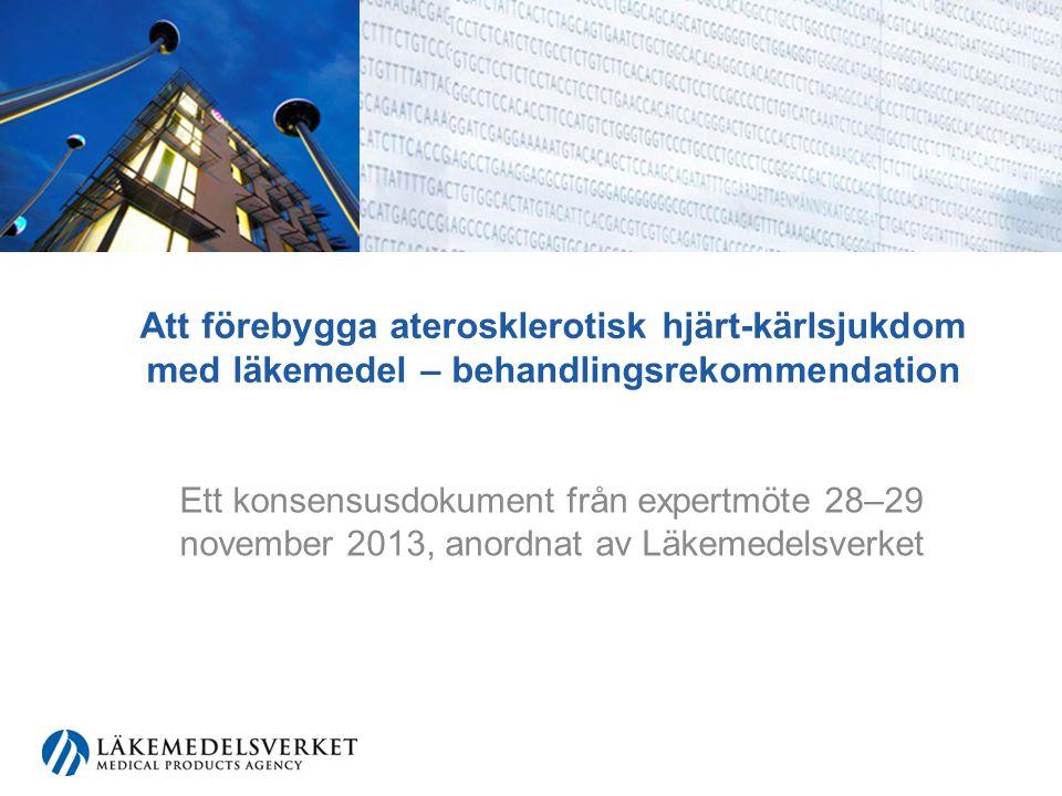 Nyheter sedan behandlingsrekommendationen 2006 Minskad mortalitet i hjärt-kärlsjukdomar i Sverige Fortfarande hög prevalens av fetma och typ-2-diabetes Ny kunskap om behandling av diabetes, lipidrubbningar och hypertoni Nationella Diabetesregistrets (NDR) riskmodeller introduceras