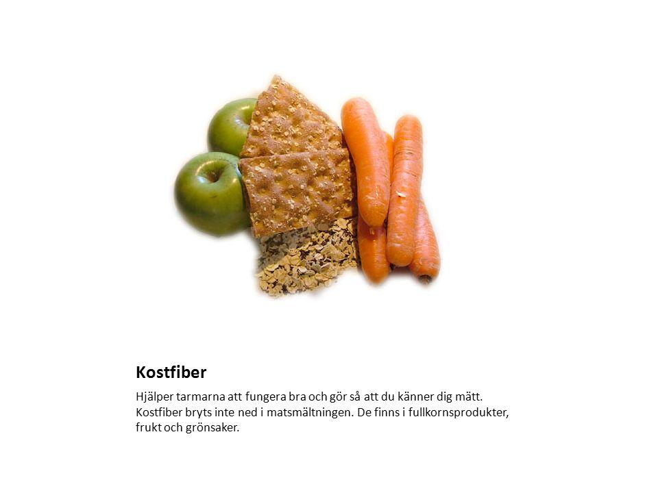 Kostfiber Hjälper tarmarna att fungera bra och gör så att du känner dig mätt. Kostfiber bryts inte ned i matsmältningen. De finns i fullkornsprodukter