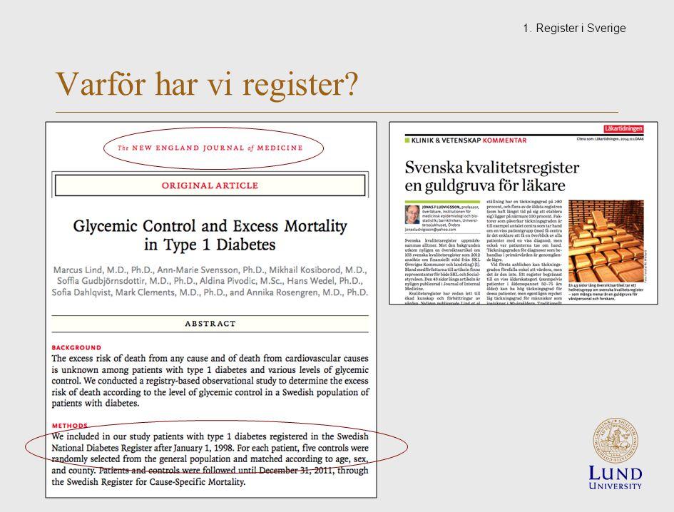 Varför har vi register 1. Register i Sverige
