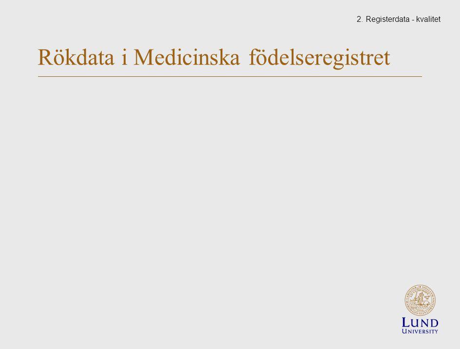 Rökdata i Medicinska födelseregistret 2. Registerdata - kvalitet