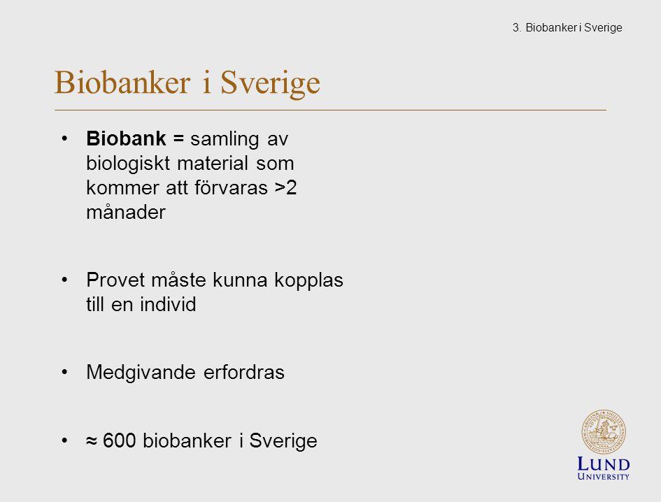Biobanker i Sverige Biobank = samling av biologiskt material som kommer att förvaras >2 månader Provet måste kunna kopplas till en individ Medgivande erfordras ≈ 600 biobanker i Sverige 3.