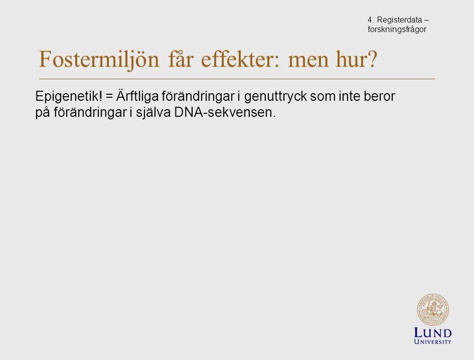 Fostermiljön får effekter: men hur. Epigenetik.
