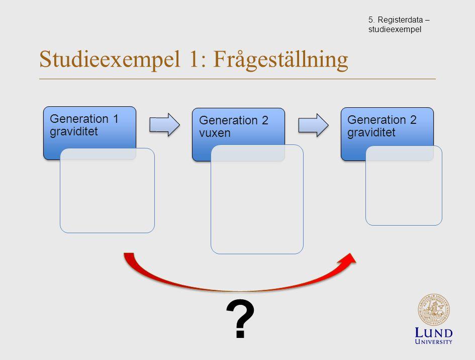 Studieexempel 1: Frågeställning Generation 1 graviditet Generation 2 vuxen Generation 2 graviditet .