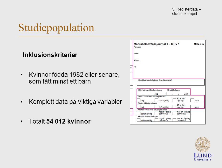 Studiepopulation Inklusionskriterier Kvinnor födda 1982 eller senare, som fått minst ett barn Komplett data på viktiga variabler Totalt 54 012 kvinnor 5.