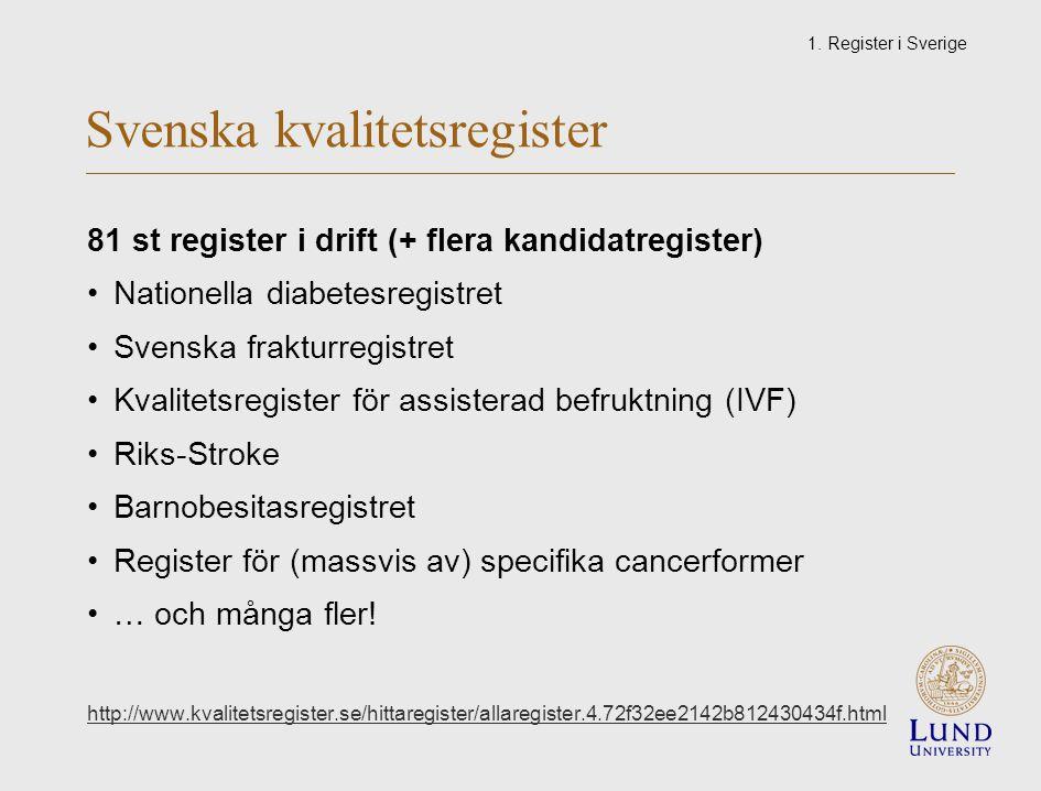 Svenska kvalitetsregister 81 st register i drift (+ flera kandidatregister) Nationella diabetesregistret Svenska frakturregistret Kvalitetsregister för assisterad befruktning (IVF) Riks-Stroke Barnobesitasregistret Register för (massvis av) specifika cancerformer … och många fler.