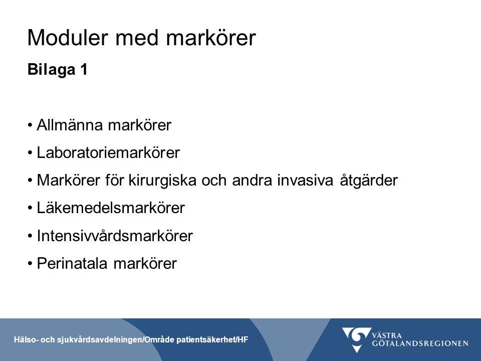 Moduler med markörer Bilaga 1 Allmänna markörer Laboratoriemarkörer Markörer för kirurgiska och andra invasiva åtgärder Läkemedelsmarkörer Intensivvår
