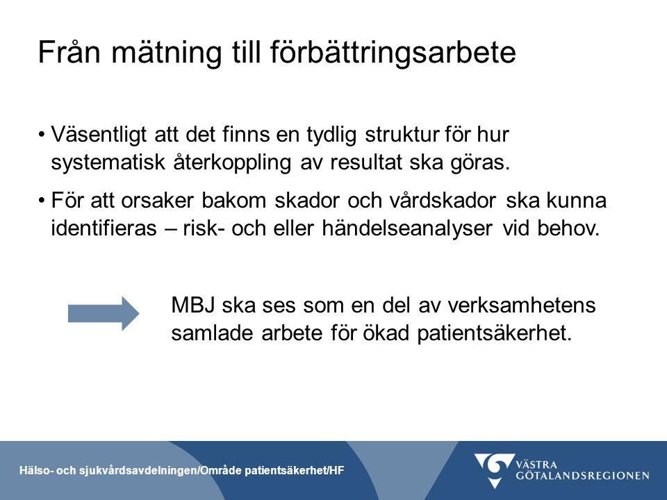 Från mätning till förbättringsarbete Väsentligt att det finns en tydlig struktur för hur systematisk återkoppling av resultat ska göras. För att orsak
