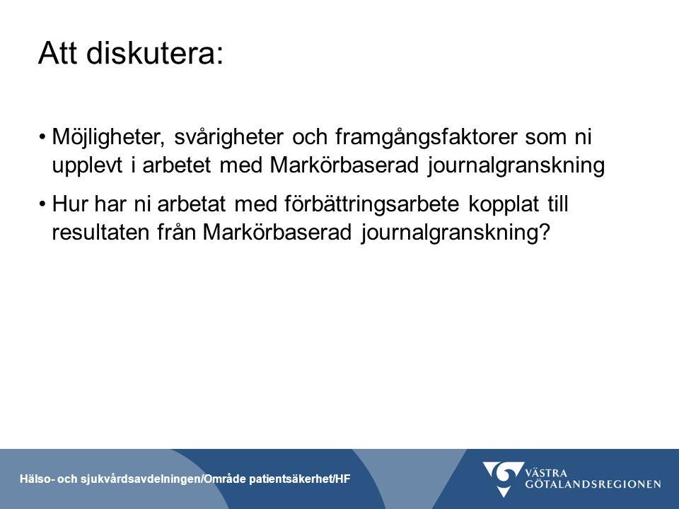 Att diskutera: Möjligheter, svårigheter och framgångsfaktorer som ni upplevt i arbetet med Markörbaserad journalgranskning Hur har ni arbetat med förb