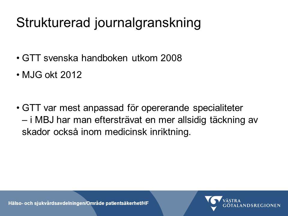 Strukturerad journalgranskning GTT svenska handboken utkom 2008 MJG okt 2012 GTT var mest anpassad för opererande specialiteter – i MBJ har man efters