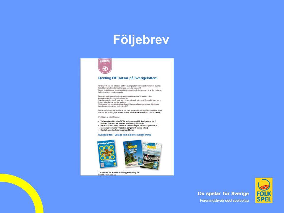 Du spelar för Sverige Föreningslivets eget spelbolag Du spelar för Sverige Föreningslivets eget spelbolag Följebrev