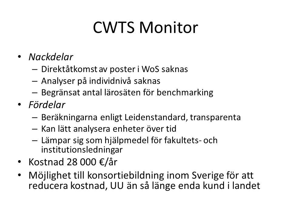 CWTS Monitor Nackdelar – Direktåtkomst av poster i WoS saknas – Analyser på individnivå saknas – Begränsat antal lärosäten för benchmarking Fördelar –
