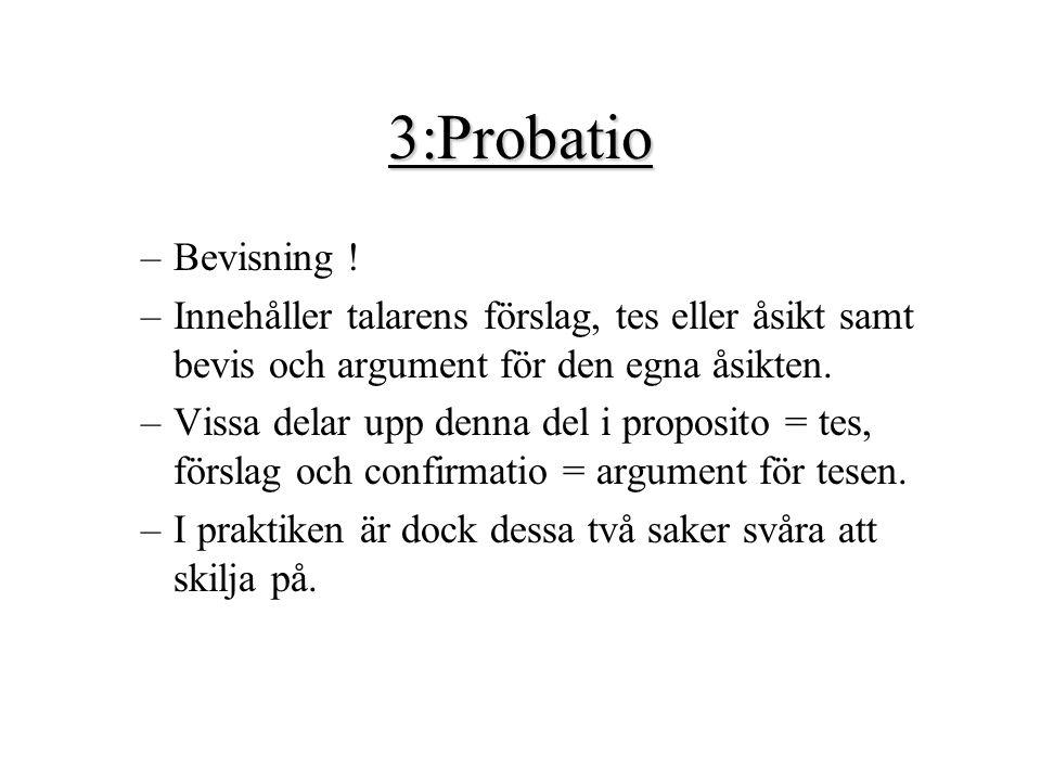 3:Probatio –Bevisning ! –Innehåller talarens förslag, tes eller åsikt samt bevis och argument för den egna åsikten. –Vissa delar upp denna del i propo