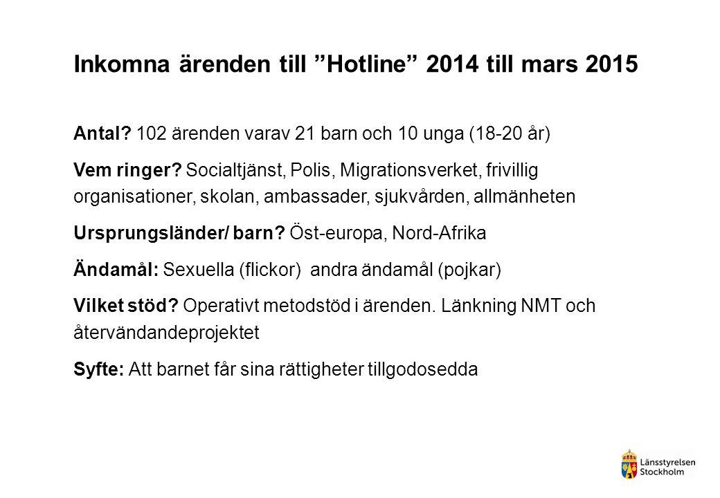 """Inkomna ärenden till """"Hotline"""" 2014 till mars 2015 Antal? 102 ärenden varav 21 barn och 10 unga (18-20 år) Vem ringer? Socialtjänst, Polis, Migrations"""