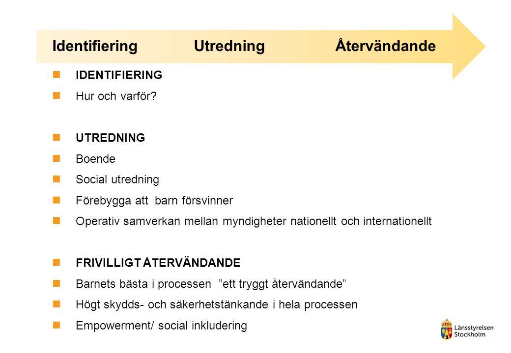 IdentifieringUtredningÅtervändande IDENTIFIERING Hur och varför? UTREDNING Boende Social utredning Förebygga att barn försvinner Operativ samverkan me
