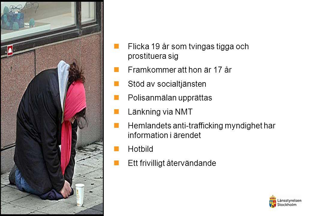 Flicka 19 år som tvingas tigga och prostituera sig Framkommer att hon är 17 år Stöd av socialtjänsten Polisanmälan upprättas Länkning via NMT Hemlandets anti-trafficking myndighet har information i ärendet Hotbild Ett frivilligt återvändande