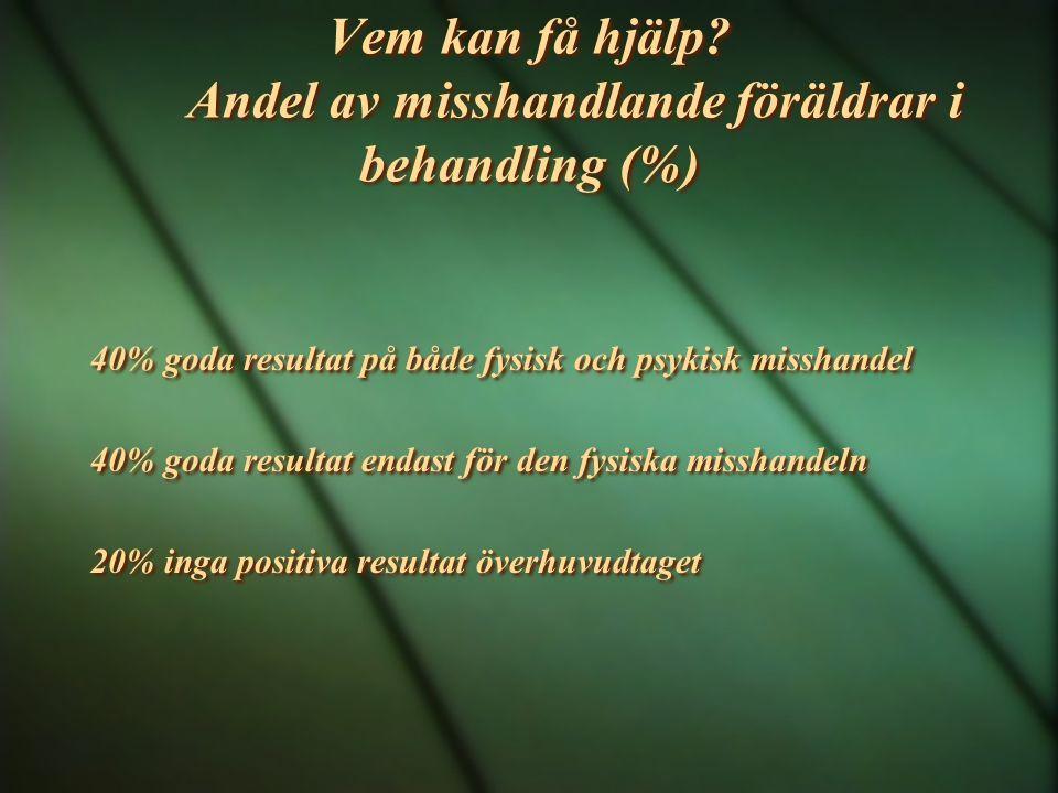 Vem kan få hjälp? Andel av misshandlande föräldrar i behandling (%) 40% goda resultat på både fysisk och psykisk misshandel 40% goda resultat endast f