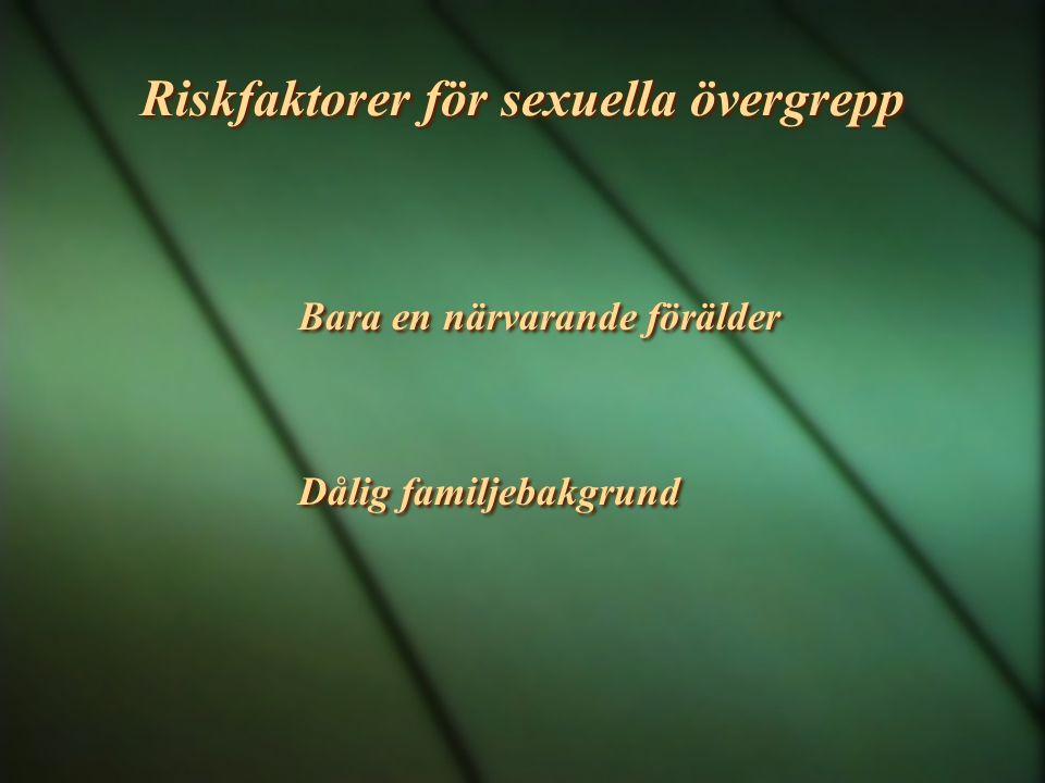 Riskfaktorer för sexuella övergrepp Bara en närvarande förälder Dålig familjebakgrund Bara en närvarande förälder Dålig familjebakgrund