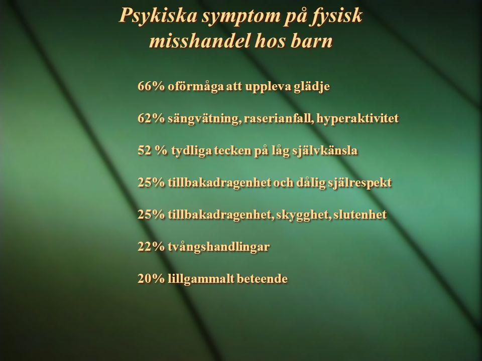 Psykiska symptom på fysisk misshandel hos barn 66% oförmåga att uppleva glädje 62% sängvätning, raserianfall, hyperaktivitet 52 % tydliga tecken på lå