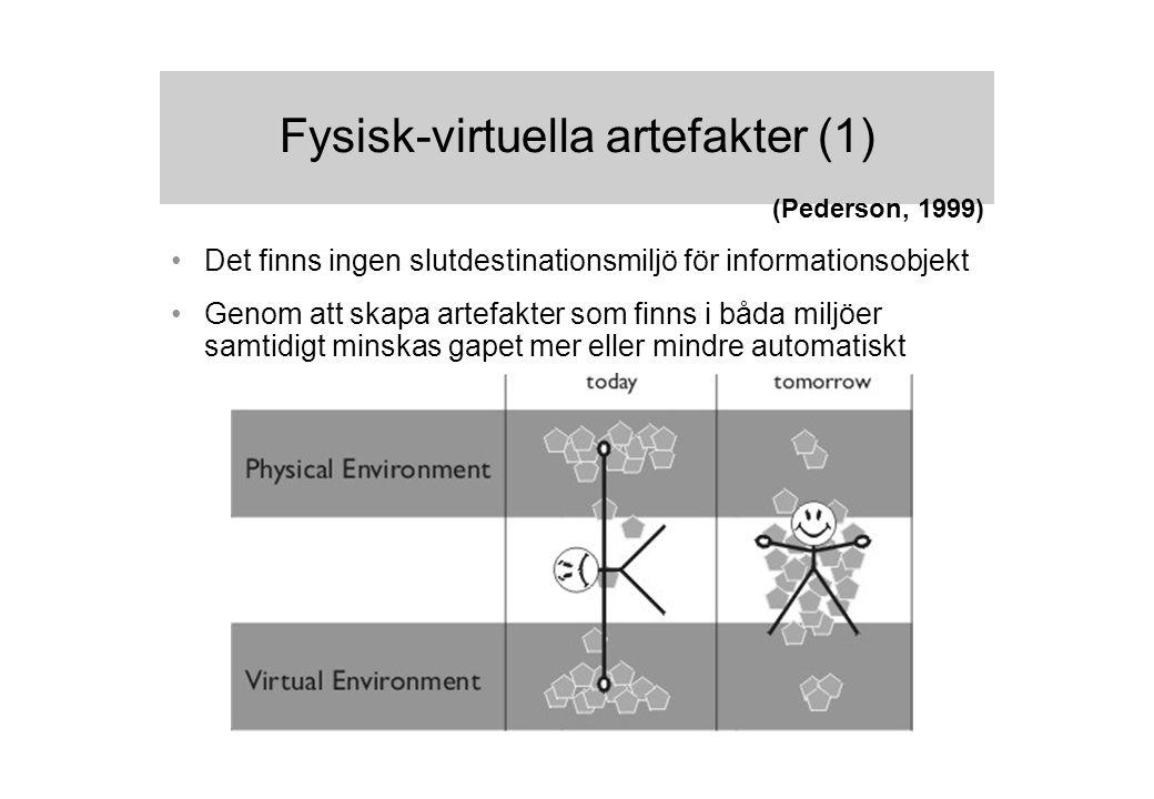 Fysisk-virtuella artefakter (1) Det finns ingen slutdestinationsmiljö för informationsobjekt Genom att skapa artefakter som finns i båda miljöer samtidigt minskas gapet mer eller mindre automatiskt (Pederson, 1999)