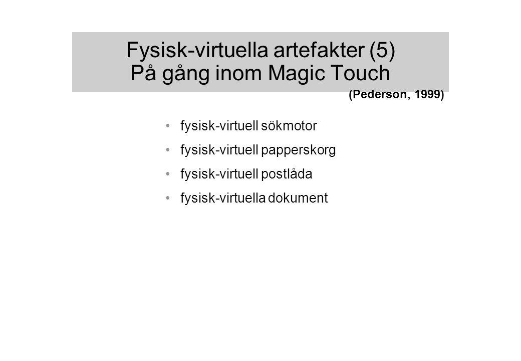 Fysisk-virtuella artefakter (5) På gång inom Magic Touch fysisk-virtuell sökmotor fysisk-virtuell papperskorg fysisk-virtuell postlåda fysisk-virtuella dokument (Pederson, 1999)