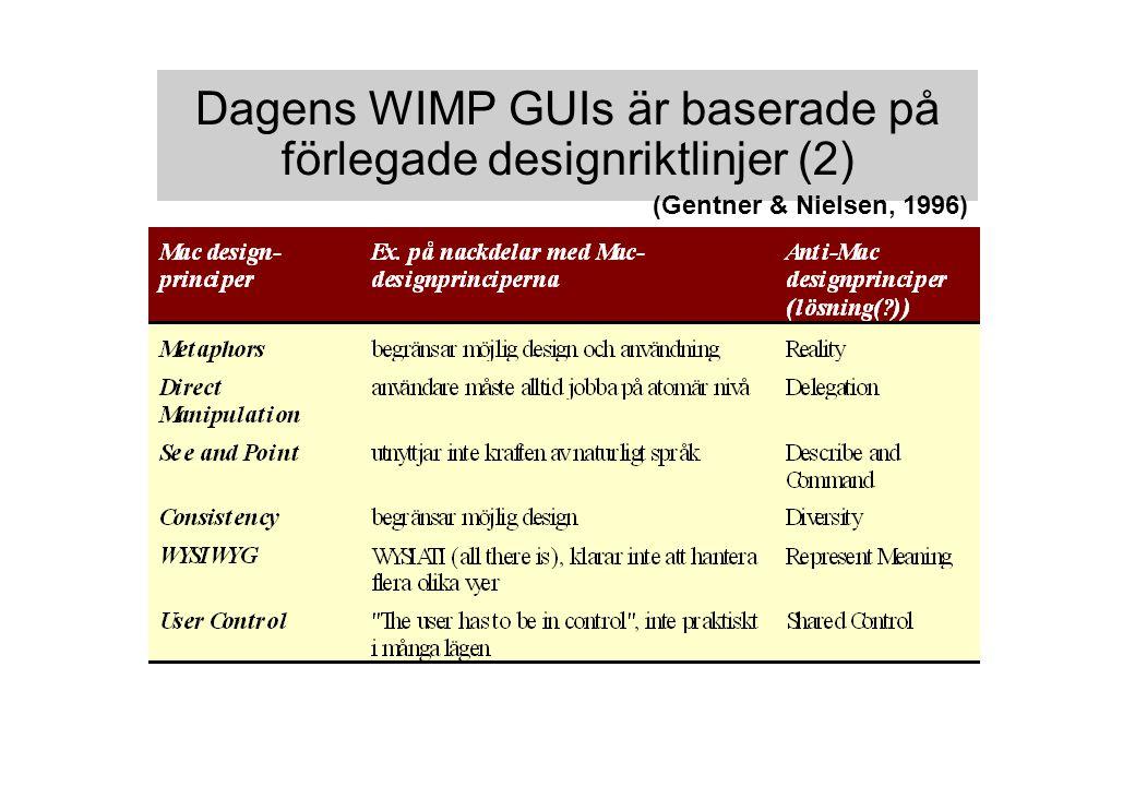 Dagens WIMP GUIs är baserade på förlegade designriktlinjer (2) (Gentner & Nielsen, 1996)