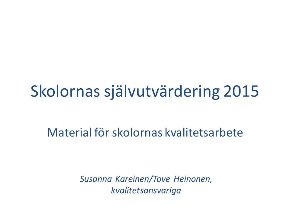 Skolornas självutvärdering 2015 Material för skolornas kvalitetsarbete Susanna Kareinen/Tove Heinonen, kvalitetsansvariga