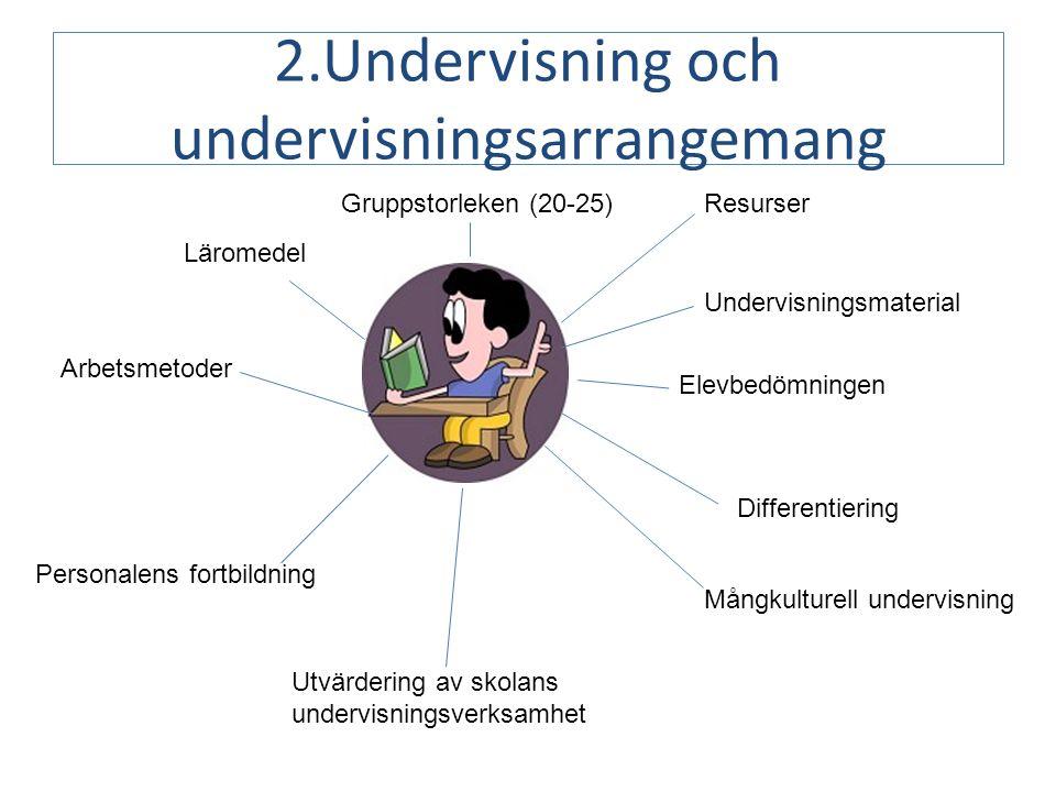 2.Undervisning och undervisningsarrangemang Gruppstorleken (20-25)Resurser Läromedel Arbetsmetoder Personalens fortbildning Utvärdering av skolans undervisningsverksamhet Differentiering Mångkulturell undervisning Elevbedömningen Undervisningsmaterial