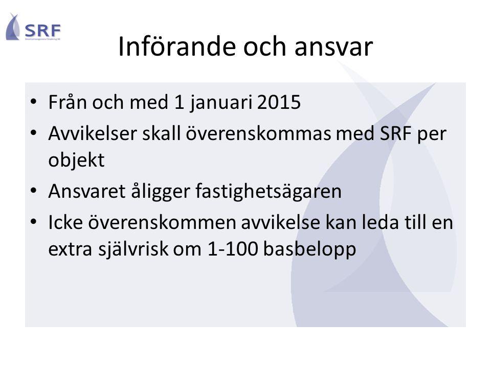 Införande och ansvar Från och med 1 januari 2015 Avvikelser skall överenskommas med SRF per objekt Ansvaret åligger fastighetsägaren Icke överenskomme