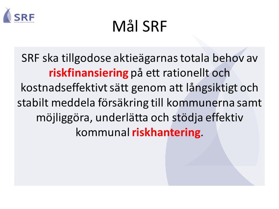 Mål SRF SRF ska tillgodose aktieägarnas totala behov av riskfinansiering på ett rationellt och kostnadseffektivt sätt genom att långsiktigt och stabil