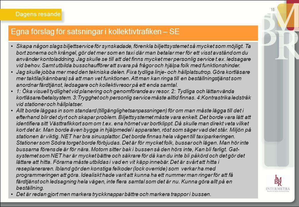 Dagens resande 18 Egna förslag för satsningar i kollektivtrafiken – SE Skapa någon slags biljettservice för synskadade, förenkla biljettsystemet så my