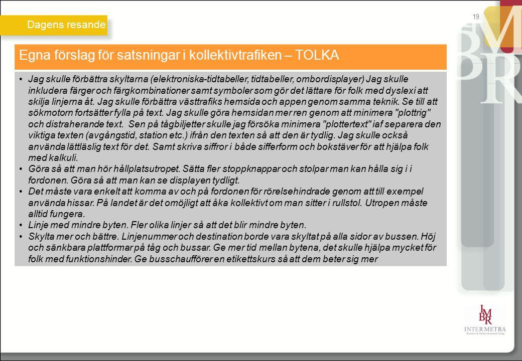 Dagens resande 19 Egna förslag för satsningar i kollektivtrafiken – TOLKA Jag skulle förbättra skyltarna (elektroniska-tidtabeller, tidtabeller, ombor