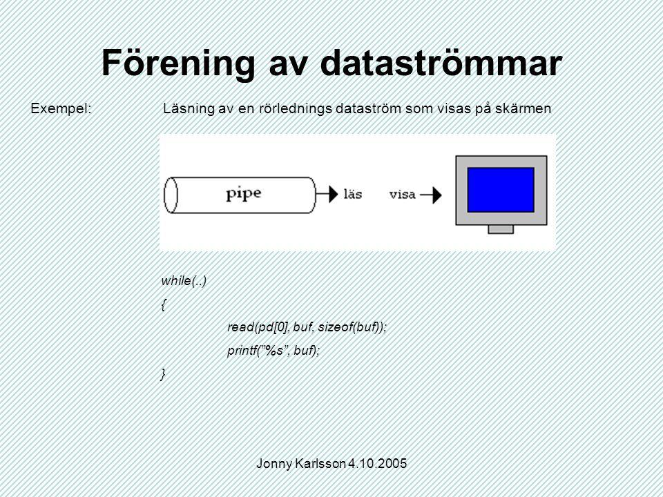 Jonny Karlsson 4.10.2005 Förening av dataströmmar Exempel: Läsning av en rörlednings dataström som visas på skärmen while(..) { read(pd[0], buf, sizeof(buf)); printf( %s , buf); }