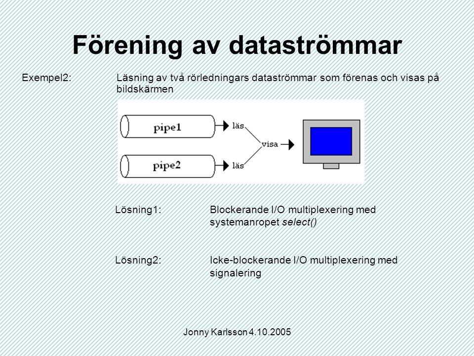 Jonny Karlsson 4.10.2005 Förening av dataströmmar Exempel2:Läsning av två rörledningars dataströmmar som förenas och visas på bildskärmen Lösning1:Blockerande I/O multiplexering med systemanropet select() Lösning2:Icke-blockerande I/O multiplexering med signalering