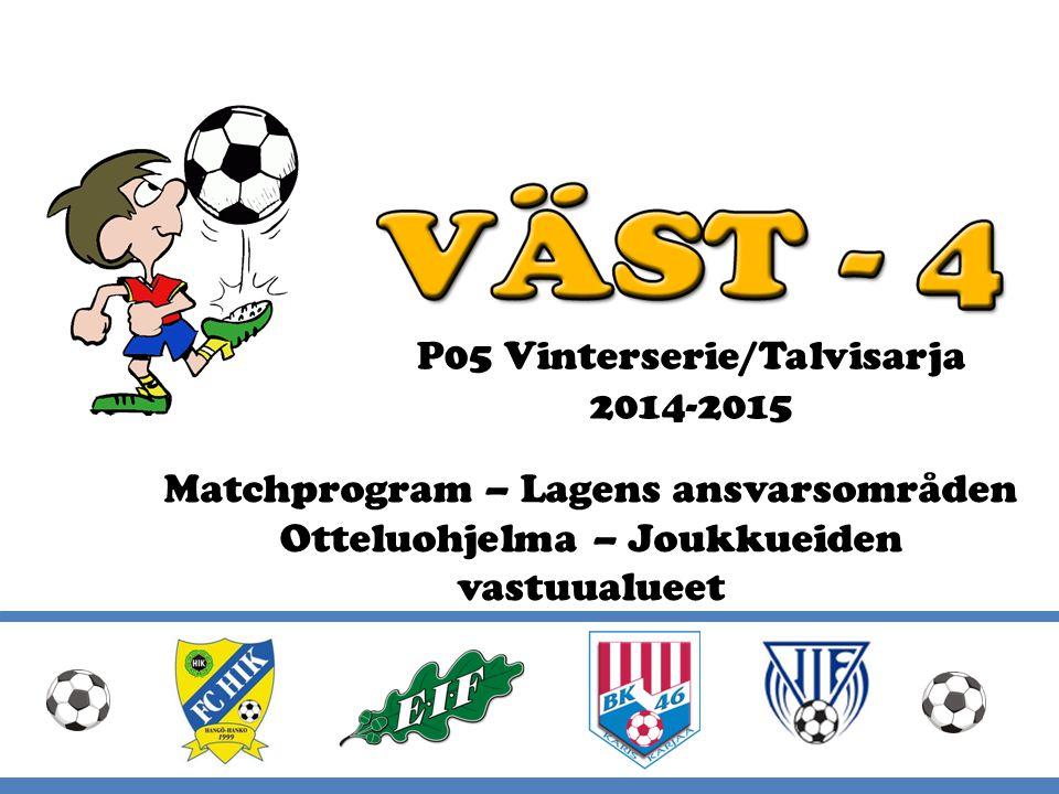 Vinterserie 2014-2015 Väst 4 ordnar Vinterserie i åldersklasserna 2003- 2006: 2003 spelar fyra söndagar i Västerby 2004 spelar fyra söndagar i Ingå 2005 spelar fyra söndagar i Ingå 2006 spelar fyra söndagar i Västerby Flicklag kan delta i serien tillsammans med ett eller två år yngre pojkar.