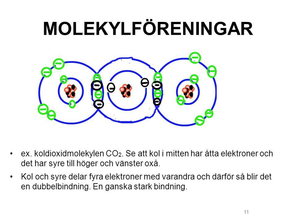 11 MOLEKYLFÖRENINGAR ex. koldioxidmolekylen CO 2. Se att kol i mitten har åtta elektroner och det har syre till höger och vänster oxå. Kol och syre de