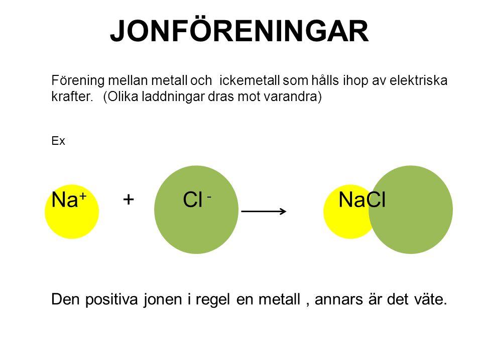 JONFÖRENINGAR Förening mellan metall och ickemetall som hålls ihop av elektriska krafter.
