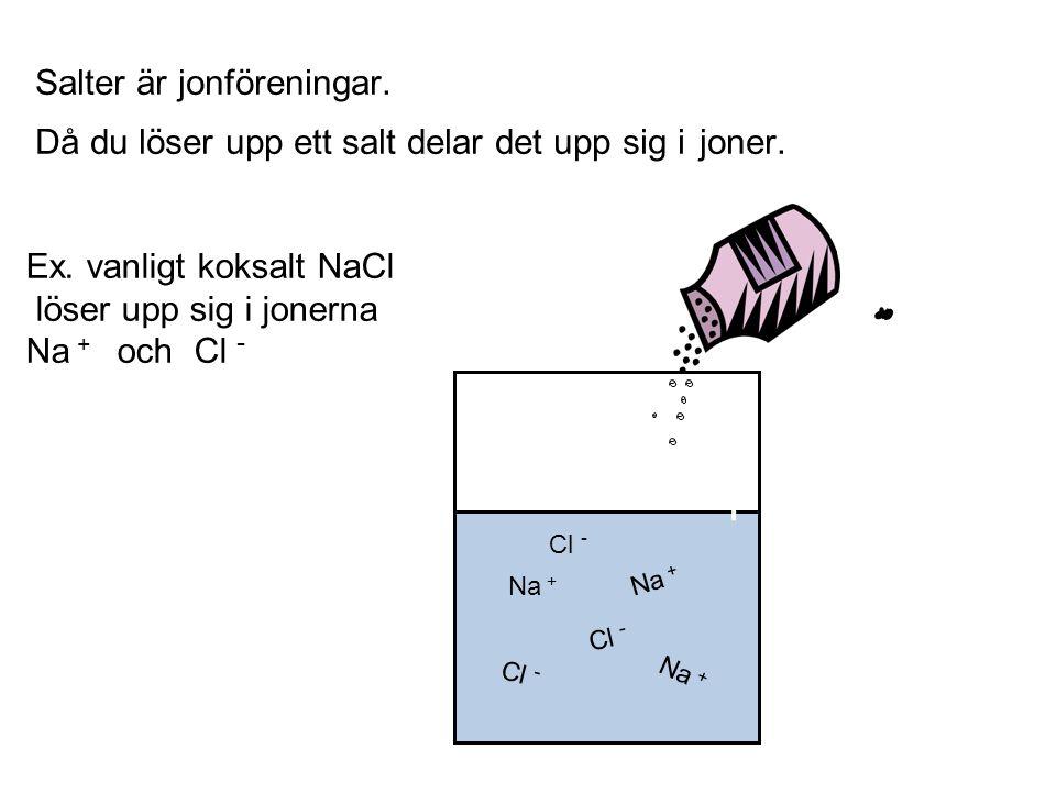 Salter är jonföreningar. Då du löser upp ett salt delar det upp sig i joner. Ex. vanligt koksalt NaCl löser upp sig i jonerna Na + och Cl - Na + Cl -