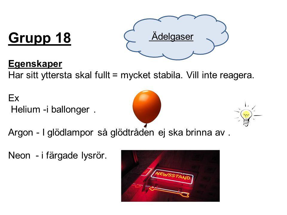 Grupp 18 Egenskaper Har sitt yttersta skal fullt = mycket stabila. Vill inte reagera. Ex Helium -i ballonger. Argon - I glödlampor så glödtråden ej sk