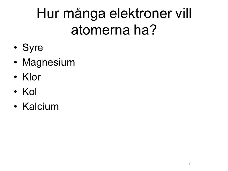 7 Hur många elektroner vill atomerna ha? Syre Magnesium Klor Kol Kalcium 7
